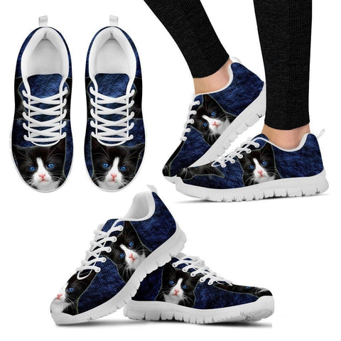 Ojos Azules Cat (Black/White) Running Shoes For Women-Free Shipping-Paww-Printz-Merchandise