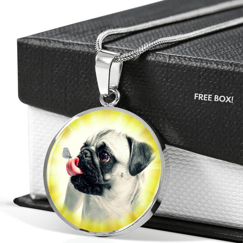 Cute Pug Dog Print Luxury Necklace-Free Shipping