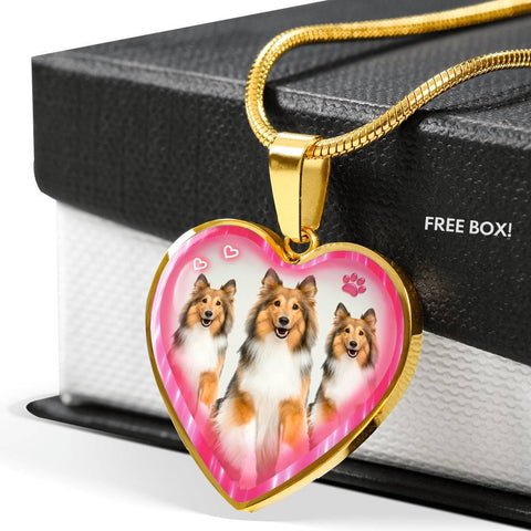 Rough Collie Dog Print Heart Charm Necklaces-Free Shipping