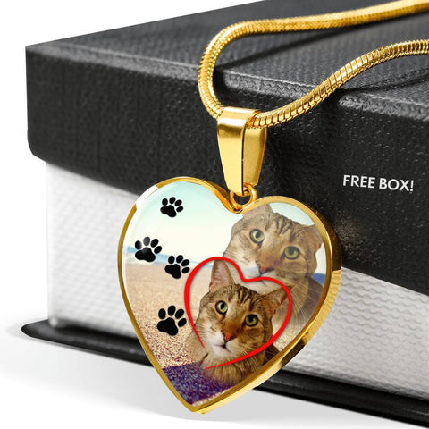 Pixie Bob Cat Print Heart Pendant Luxury Necklace-Free Shipping