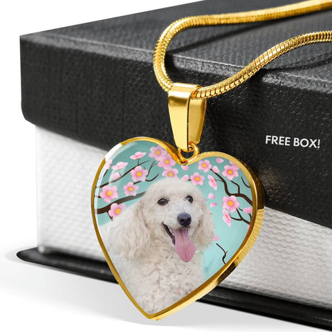 Poodle Dog Print Heart Pendant Luxury Necklace-Free Shipping