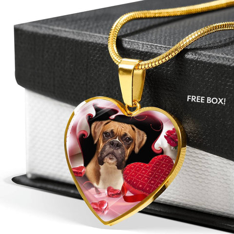 Boxer Dog Print Heart Pendant Luxury Necklace-Free Shipping