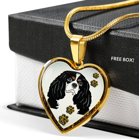 Cavalier King Charles Spaniel Dog Print Heart Charm Necklaces-Free Shipping