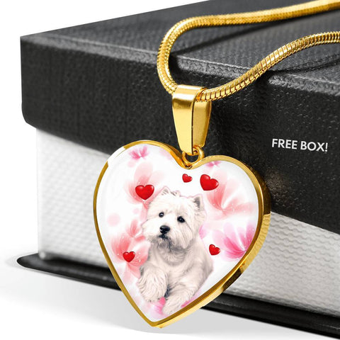 West Highland White Terrier Print Heart Pendant Luxury Necklace-Free Shipping