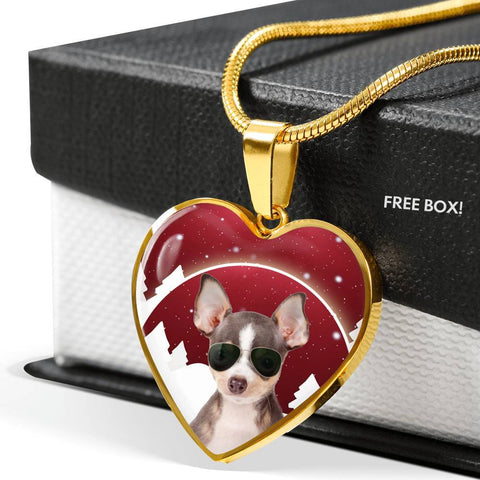 Chihuahua Print Heart Charm Luxury Necklace-Free Shipping