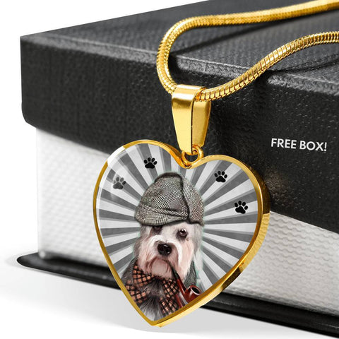 Dandie Dinmont Terrier Print Heart Pendant Luxury Necklace-Free Shipping