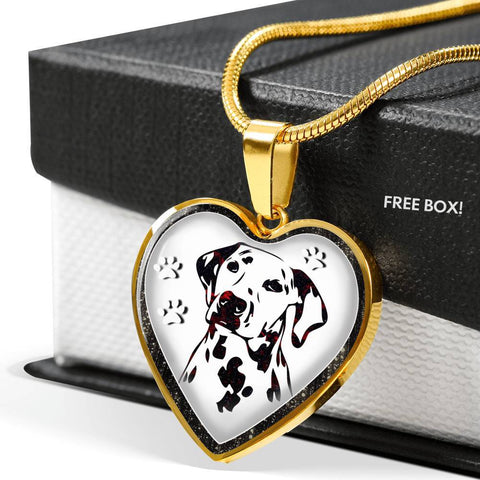 Lovely Dalmatian Dog Print Heart Charm Necklaces-Free Shipping