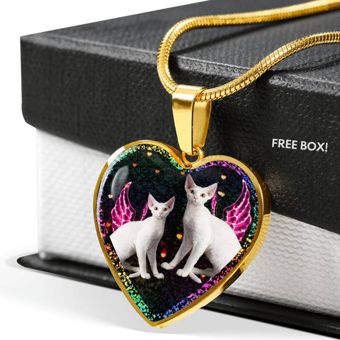 Devon Rex Cat Print Heart Charm Necklaces-Free Shipping