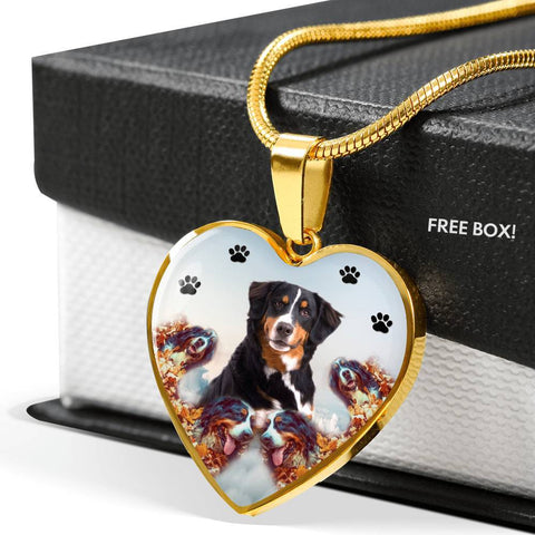 Bernese Mountain Dog Print Heart Charm Necklace-Free Shipping