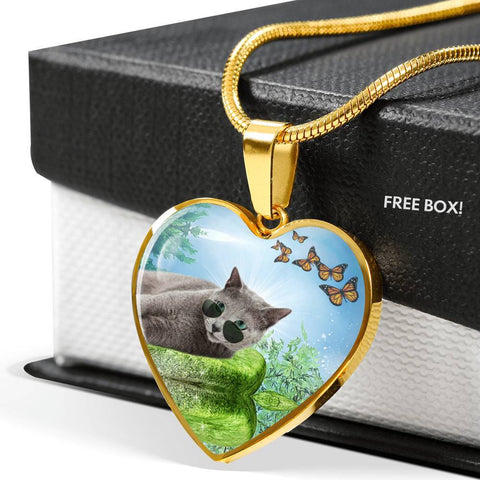 Russian Blue Cat Heart Pendant Luxury Necklace-Free Shipping