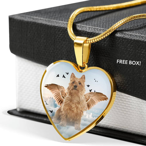 Australian Terrier Print Heart Pendant Luxury Necklace-Free Shipping