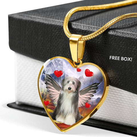 Bearded Collie With Wing Print Heart Pendant Luxury Necklace-Free Shipping