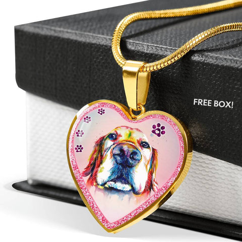 Basset Hound Dog Print Heart Charm Necklaces-Free Shipping