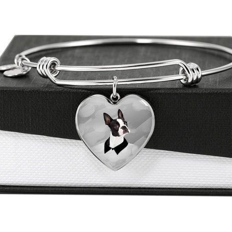 Boston Terrier Print Heart Pendant-Free Shipping