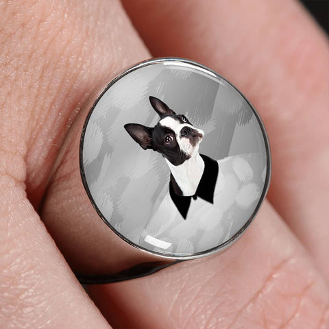 Boston Terrier Print Signet Ring-Free Shipping