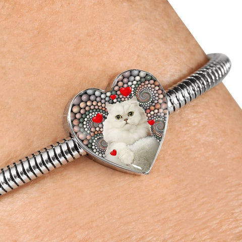 Lovely Persian Cat Print Heart Charm Steel Bracelet-Free Shipping