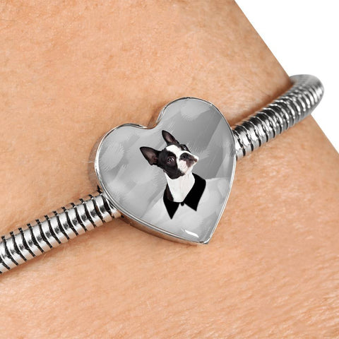 Boston Terrier Print Heart Steel Bracelet-Free Shipping