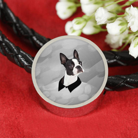 Boston Terrier Print Woven Leather Charm Bracelet-Free Shipping