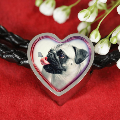 Cute Pug Dog Print Heart Charm Leather Woven Bracelet-Free Shipping