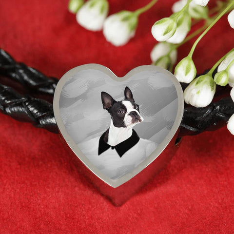 Boston Terrier Print Heart Charm Bracelet-Free Shipping