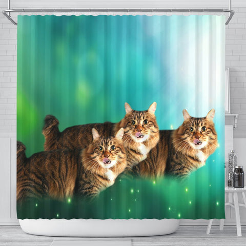 Cute American Bobtail Cat Print Shower Curtains-Free Shipping