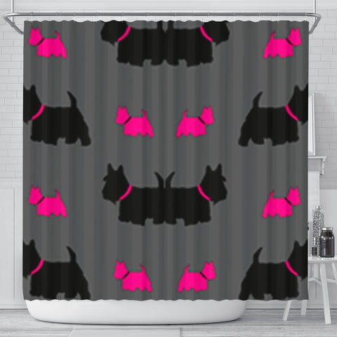 Scottish Terrier Dog Print Shower Curtain-Free Shipping