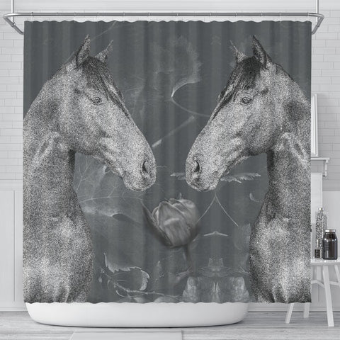 Thoroughbred Horse Print Shower Curtain-Free Shipping