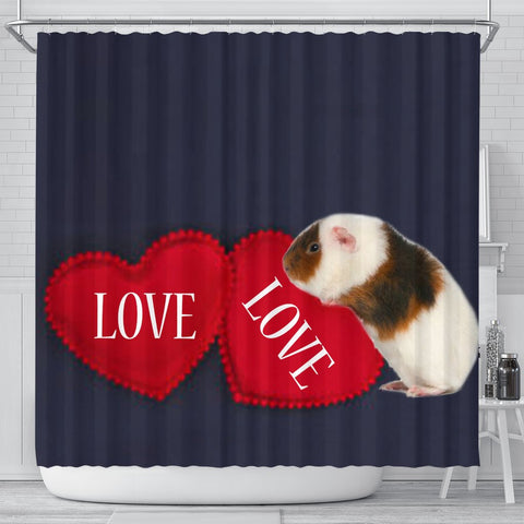 Teddy guinea pig Print Shower Curtain-Free Shipping