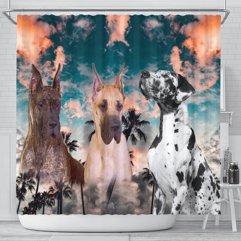 Great Dane Print Shower Curtains-Free Shipping