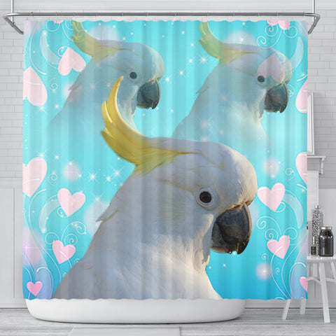 Cockatoo Parrot Print Shower Curtain-Free Shipping