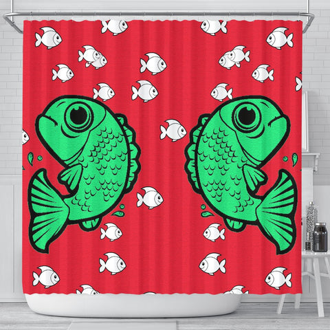 Fish Print On Red Shower Curtain-Free Shipping