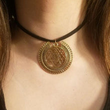 Gold Sri Yantra CHOKER Necklace - Meditation Symbol Full Halo Charm - Paragon Designer Pendants