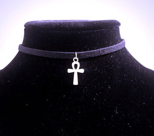 Ankh CHOKER Necklace Small Silver Egyptian Spiritual Charm - Paragon Designer Pendants