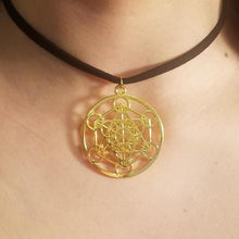 Gold Metatron's Cube CHOKER Necklace Sacred Geometry Charm by PARAGON - Paragon Designer Pendants