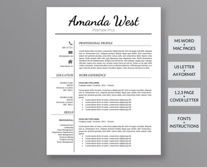 Creative Resume Template Amanda West - Outperforming Designs