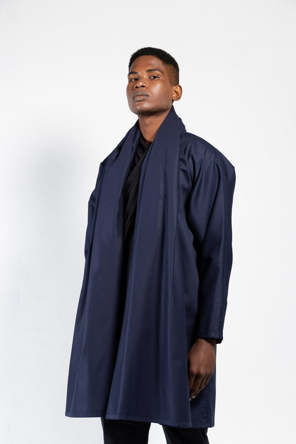 Maauad Cotton Twill Draped Collar Coat - Men