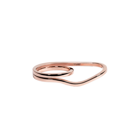 WIRE TWO FINGER RING ROSE-GOLD PLATED