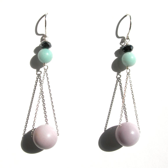Lavender & pastel amazonite earrings - karen-morrison-jewellery