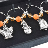 1Set/6PCs Orange Beads Christmas Charms for Wine Glasses - WineProducts.net