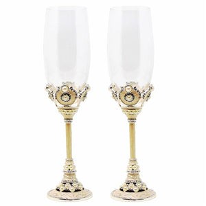 Wedding Champagne Flutes with Crystal Rhinestones - WineProducts.net