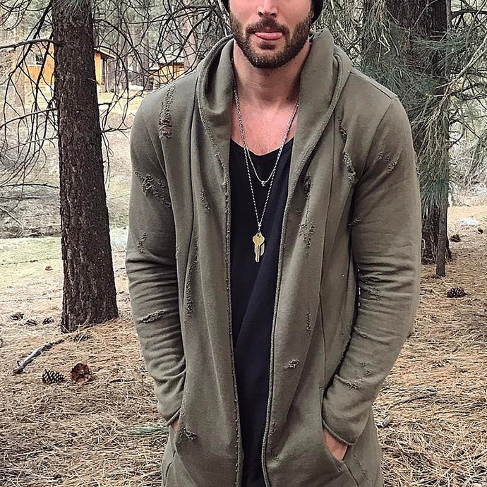 Fashion Mens Casual Hole Solid Color Outerwear