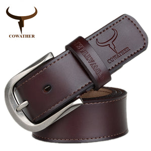 COWATHER 2017 fashion pin buckle cow genuine leather mens belt for men three colors male vintage jeans cowskin belts good route
