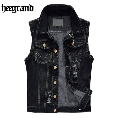 HEE GRAND Fashion Jeans Vest Men Hole Washed Cowboy Classic Jeans Vest Sleeveless Plus Size S~6XL  MWB260