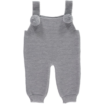 Grey baby romper with pom poms