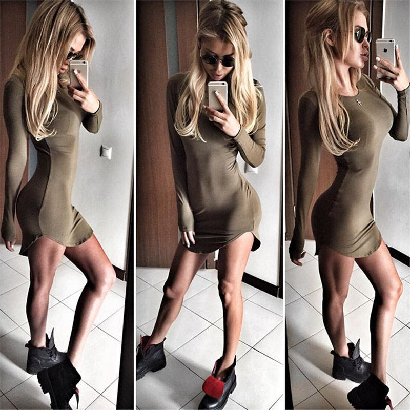 olive long sleeve casual bodycon mini dress