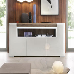 Furniture To Go Toronto 3 Door Sideboard with LED Lighting and Open Shelf (4202944)