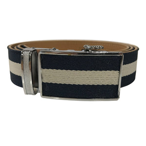 Women's Blue Leather White Canvas Golf Belt - golfcovers
