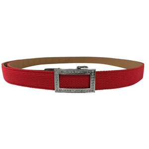 Women's Red Leather Canvas Slim Golf Belt - golfcovers