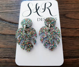 Monstera Leaf Confetti Glitter Acrylic Dangle Earrings - Silver and Resin Designs