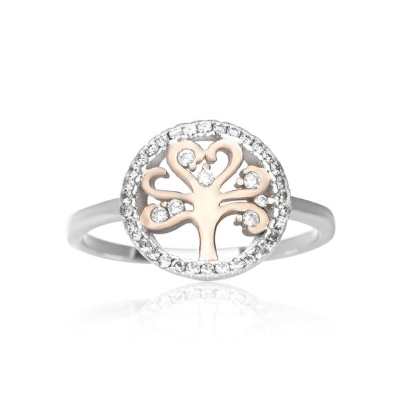 Tree of Life Ring Sterling Silver Rose Gold Cubic Zirconia Ring - Silver and Resin Designs